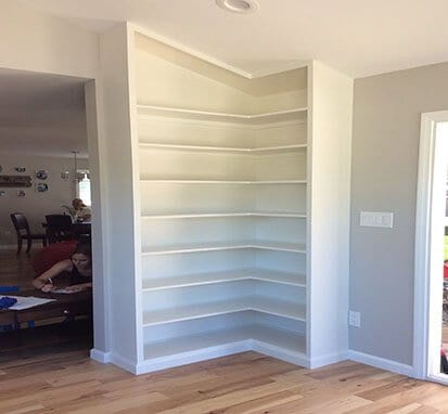 Custom shelving built into a home by socal carpentry in San Diego