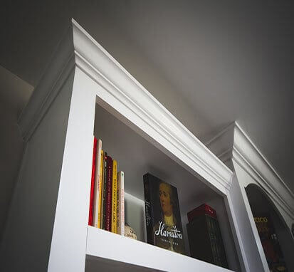 Crown Molding on a Book Case built by SoCal Carpentry